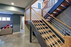 From modern and contemporary to rustic and traditional, discover the top 70 best basement stairs ideas. Basement Plans, Basement Stairs, Basement Remodeling, Basement Ideas, House Stairs, New Staircase, Staircase Design, Refinish Stairs, Stair Railing