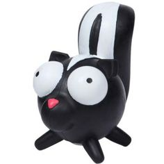 Pet Buddies Googlies Shelby Skunk has big eyes that are hard to resist and are fun dog toys made from durable natural rubber in vibrant colors.    Squeak, toss, and bounce these big eyed characters!    Helps promotes healthy teeth and gums.