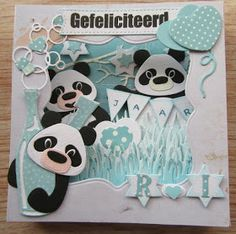 Maria's kaartjes: Diorama met panda`s Marianne Design Cards, Animal Puzzle, Craft Punches, Animal Cards, Card Tutorials, Love Cards, Kids Cards, Creative Cards, Panda Bear