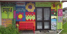 "'Patchwork' style mural, East facing wall  ""Te Ara Korowai"" building. 1 Weka Road, Raumati South, Kapiti Coast.   Painted by adult participants, Facilitated by Ellen, 31/3/15"