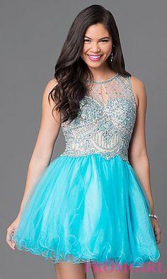 Bead Embellished Short Babydoll Dress  at PromGirl.com