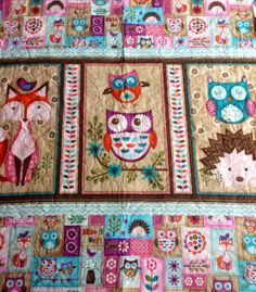 LAST ONE Baby Quilt, Friendly Forest Animals, Reversible, Girl ... : baby quilt owl pattern - Adamdwight.com