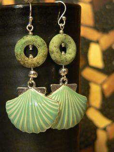 Beach earring, enamel shell, Sea green, seashell dangle, african turquoise, dangle earring, seashell earring, bold earring by sallysbeadsnc on Etsy