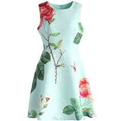 Chicwish Fond of Roses Jacquard Dress in Mint Blue (178.710 COP) ❤ liked on Polyvore featuring dresses, blue, blue green dress, green floral dress, blue dress, layered dress e mint blue dress