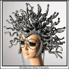 Oh Medusa! How she shall turn your heart to stone!!! This headdress has 75 fricken snakes on it! It is painted an aged silver and has beautiful