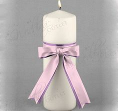 Custom 2-Ribbon Unity Candle will match any wedding theme color.  White or ivory wedding candle is adorned with your choice of two ribbon colors.