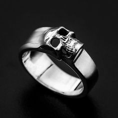 Sterling Silver Sideway Skull Ring-Sterling by MrSmithJewelry