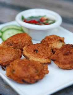 Tod Mun Pla (spicy Thai fish cakes) with tart sweet spicy dipping sauce