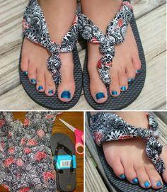 sandalias con tiras de tela