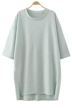 Solid Color Slit Half Sleeve Dress Half Sleeve Dresses, Half Sleeves, Cute Summer Outfits, Cute Outfits, Black And White Summer Dresses, Trendy Fashion, Girl Fashion, Summer Dresses Online, Kawaii Clothes