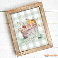 These Six Fall Farmhouse Printables come in two watercolor looks: neutral and green buffalo check. Perfect for your autumn decor. Fall Crafts, Decor Crafts, Christmas Crafts, Welcome Baskets, Free Stencils, Fall Pictures, Flower Fairies, Autumn Art, Fall Decor