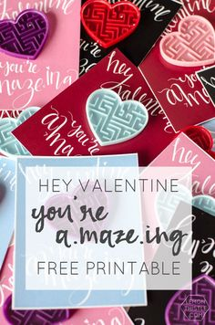 Everyone loves a pun, right? These free printables: Hey, valentine. You& A-Maze-ing! are the perfect snail mail for kids in your life. Attach a heart maze and you& set. Valentines Day Party, Valentine Day Crafts, Be My Valentine, Holiday Crafts, Holiday Decor, Valentine's Day Crafts For Kids, Gifts For Kids, Valentine's Cards For Kids, Valentine's Day Printables