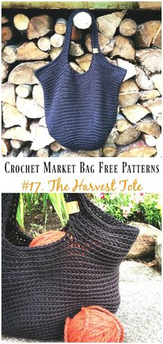 Crochet Market Bag Free Patterns - Crochet and Knitting - Crochet Market Bag Free Patterns The Harvest Tote Bag Crochet Free Pattern – Market Grocery Patterns Bag Crochet, Crochet Market Bag, Crochet Shell Stitch, Crochet Gratis, Crochet Diy, Crochet Handbags, Crochet Purses, Crochet Clutch, Ravelry Crochet