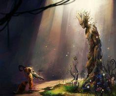 Groot and rocket very beautiful art