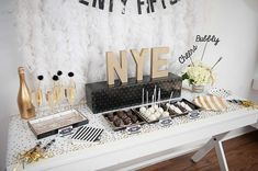 Gorgeous dessert table at a New Year's party! See more party planning ideas at CatchMyParty.com!