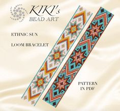 Bead loom pattern for bracelet - Ethnic sun loom bracelet cuff pattern in PDF - instant download de KikisBeadArts en Etsy https://www.etsy.com/es/listing/276424622/bead-loom-pattern-for-bracelet-ethnic
