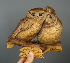 Lovers OWL Sculpture on wood Art Wall Art Animalier bird in wood by Davydovart Decoration Unique gift for him and her