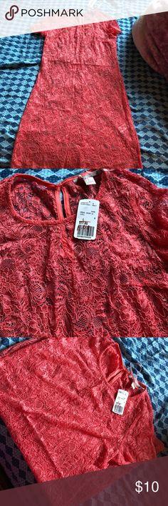 F21 coral dress Lace coral f21 dress Dresses Mini