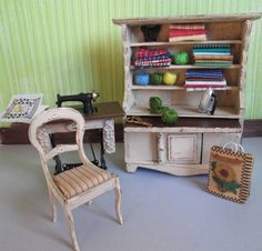 Dollhouse Miniature Sewing Room Furniture Treadle Cabinet Chair Accessories OOAK hand painted shabby cottage craft room...adorable!