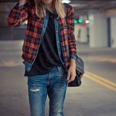 Denim + plaid.