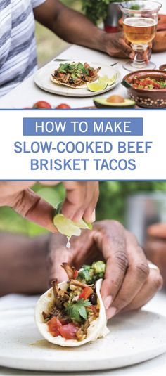 We're in love with these Slow Cooker Beef Brisket Tacos. Easy to make and packed with flavor, this homemade taco recipe is perfect for busy weeknight dinners. Use onion, brown sugar, tomato paste, garlic, paprika, chili powder, cayenne, thyme, and beef brisket to create the rich, savory meat filling. Click here for the full recipe.