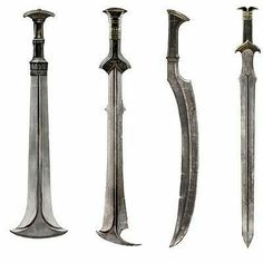 Second from the left Fantasy Sword, Fantasy Weapons, Swords And Daggers, Knives And Swords, Sword Design, Weapon Concept Art, Arm Armor, Katana, Blacksmithing
