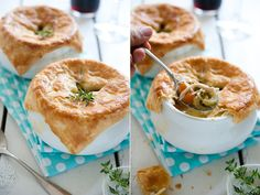 Chicken Pot Pie with homemade puff pastry
