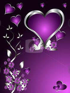 Illustration about A purple hearts Valentines Day Background with silver hearts and flowers on a black background. Illustration of abstract, graphic, leaf - 17216309 Purple Day, Purple Love, All Things Purple, Purple Hues, Shades Of Purple, Purple And Black, Purple Hearts, Purple Stuff, Heart Wallpaper
