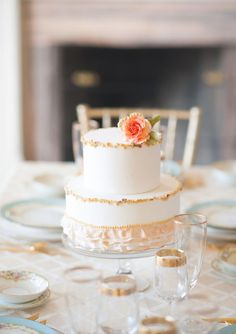 Cute small peach and white cake