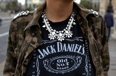 camo jacket, jack daniels t-shirt, statement necklace