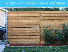 Love this wood fencing turned on it's side. Modern Solution to ugly fencing.   How To: A Smart Solution for Covering an Ugly, Existing Chain Link Fence » Curbly | DIY Design Community