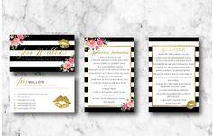 Stripe Lipsense Business Card Bundle Gold/Black/Pink