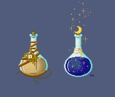Time and Twilight Pixel Potions by Kristen Tozer (maicakes) Pixel Kawaii, Wicca, Stitch Games, Bottle Drawing, 8bit Art, Peler Beads, Pixel Art Games, Arte Disney, Art Sketchbook