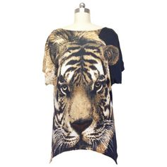 Trendy Tiger Print Loose Fitting Blouse For Women - ONE SIZE BLACK