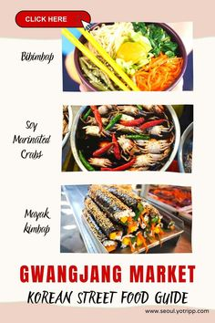 A complete Korean street food guide for Gwangjang Market, Seoul, South Korea. A visit to Seoul is never complete without a trip to Gwangjang Market, historic and iconic street food market that serves cheap and delicious Korean street foods. Click to know the street foods to try and other details such as Gwangjang market timings and more. Korean Street Food, Best Street Food, Gastronomy Food, Visit Seoul, Street Food Market, Around The World Food, Kimbap, Sweet Potato Noodles, Food Stall