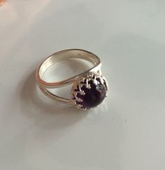 Dark Amethyst Ring, Sterling Silver Crown Bezel, Handmade Amethyst Jewelry, Gemstone Ring, Artisan Jewelry, US Shipping Included,