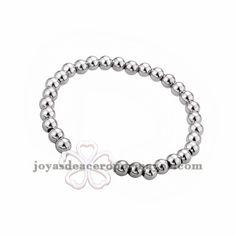pulsera de bola y flores en acero plateado inoxidable para mujer -SSBTG183985