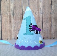 Felt Birthday Party Hat Itsy Bitsy Spider Bumble Bees Smash cake Photo Prop by LittleLoveLane