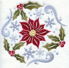 Winter Poinsettia Circle design (C5523) from www.Emblibrary.com