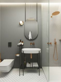 Modern Bathroom Ideas small and luxury. What tile to choose and how to equip a shower room. Bathroom Design Inspiration, Bad Inspiration, Modern Bathroom Design, Bathroom Interior Design, Bathroom Designs, Design Ideas, Restroom Design, Shower Designs, Interior Livingroom