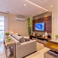 home sala 44 Salas de TV Decoradas com - Home Living Room, Living Room Decor, Living Area, Living Room Tv Unit Designs, Tv Wall Decor, Wall Tv, Appartement Design, Brown Decor, Small Apartment Decorating