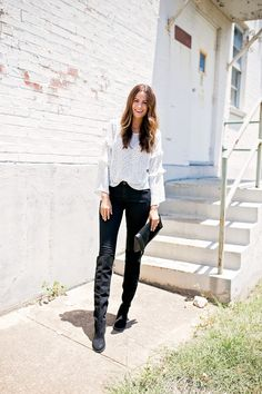 7dacda9c85 The Miller Affect wearing black ab-solution skinny jeans from Wit   Wisdom  Polka Dot