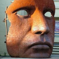 Mask by Rick Kirby, Mild Steel. Public Art, Metal Art, Sculptures, Canterbury, Steel, Theatre, Spaces, People, Theater