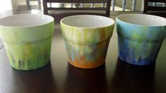 Pretty hand painted pots