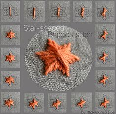 tutorial: star shaped rhodes stitch | Flickr - Photo Sharing! Looks interesting! Makes a well padded raised stitch.