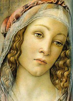 Sandro Botticelli ~ Madonna of the Pomegranate (detail), c.1487