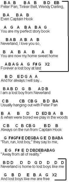 Flute Sheet Music: Lost Boy Sheet four and bridge Piano Sheet Music Letters, Clarinet Sheet Music, Easy Piano Sheet Music, Music Chords, Easy Piano Songs, Ukulele Songs, Violin Music, Music Sheets, Song Notes
