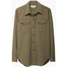 Isabel Marant Étoile Wigston Double Pocket Shirt (2 855 ZAR) ❤ liked on Polyvore featuring tops, blouses, shirts, military fashion, boho tops, button shirts, long sleeve button shirt and bohemian shirts