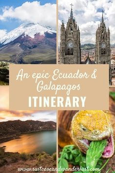 - Ecuador is a fascinating and diverse country. Discover my Ecuador itinerary with 9 epic stops all over the country including the Galapagos islands with its amazing wildlife. South America Destinations, South America Travel, Costa Rica, Panama, Chile, Photography Tours, Galapagos Islands, Pilgrimage, Rafting