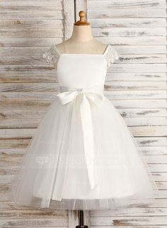 A-Line/Princess Square Neckline Knee-length Sash Satin Tulle Sleeveless Flower Girl Dress Flower Girl Dress